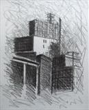 Building Site. by Mike Hanny, Drawing, Charcoal on Paper