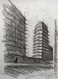 Building Site. The Crescent. by Mike Hanny, Drawing, Charcoal on Paper
