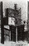 Building Site from Cobourg St. by Mike Hanny, Drawing, Pen on Paper