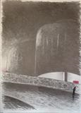 Car Park by Mike Hanny, Drawing, Charcoal on Paper