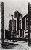 Car Park off Mayflower St. by Mike Hanny, Drawing, Pen on Paper