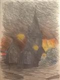 Charles Church Night. by Mike Hanny, Drawing, Charcoal on Paper
