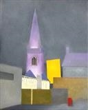 Charles Church from Hill St. by Mike Hanny, Painting, Oil on canvas