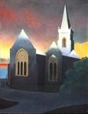 Charles Church sunrise. by Mike Hanny, Painting, Oil on canvas