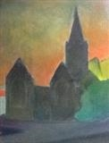 Charles Church sunset. by Mike Hanny, Painting, Oil on canvas