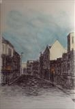 Ebrington St. Early light. by Mike Hanny, Drawing, Pen on Paper