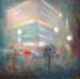 Money Centre Mist 5am. by Mike Hanny, Painting, Oil on canvas
