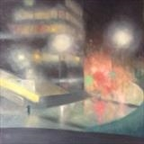 Money centre. Early mist. by Mike Hanny, Painting, Oil on canvas