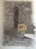 Tower by Mike Hanny, Drawing, Charcoal on Paper
