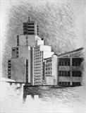 University studies. From Mayflower St. by Mike Hanny, Drawing, Charcoal on Paper
